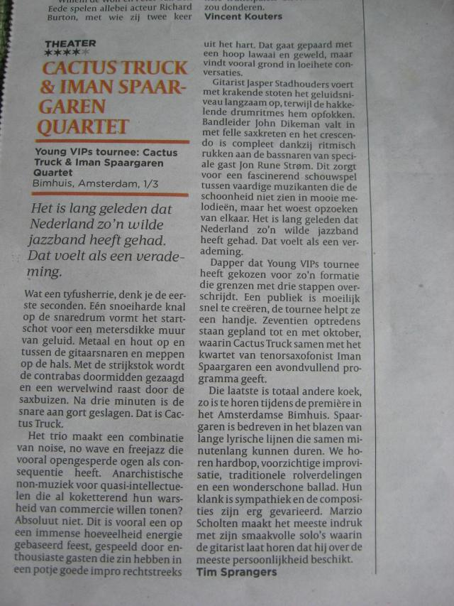 Review of Bimhuis concert March 1 in De Volkskrant!